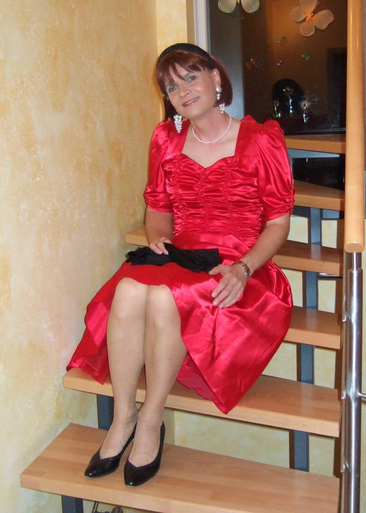 Red Dress3  Me In The Beautiful Red Satin Dress I Got -3448