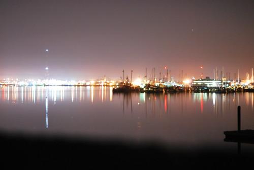 city water stars boats lights dock bright
