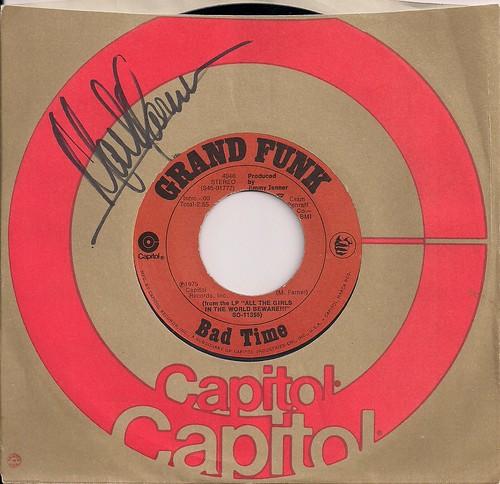 "12/28/02 BTO/Head East/Mark Farner @ St. Paul, MN (Grand Funk 7"" Single Autographed by Mark Farner)"