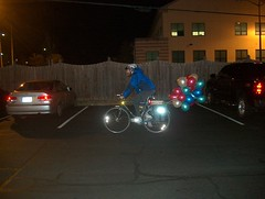 Towing balloons home from TNC holiday party