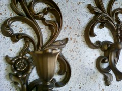 Closeup gold sconces