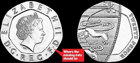 UK Dateless 2009 20 Pence