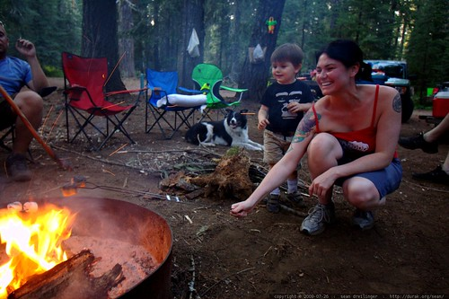 mother and son roasting marshmallows    MG 9658