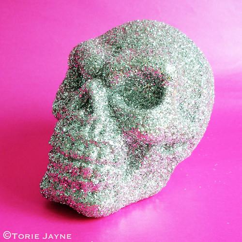 Hand glittered skull