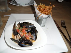Steamed Black Mussels with Champagne Parmesan Broth and Shoe String Potatoes by pchow98