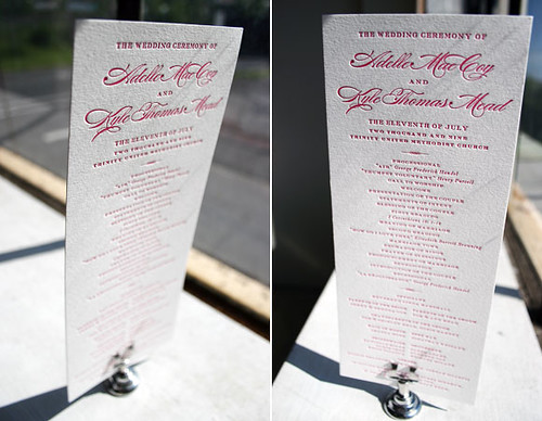 Deveril Letterpress Wedding Ceremony Program by Bella Figura