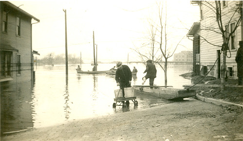 1937 Flood in Portsmouth, Near Waller Street (note N&W Train Depot in back ground)