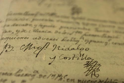 """Documentos con la firma original del Cura Hidalgo/Original documents with the Hidalgo Priest signature, Parroquia, San Felipe """"Torres Mochas"""", Guanajuato."""