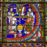 Emperor Julian and Emperor Maurice Tiberius - medieval stained glass detail, Canterbury Cathedral