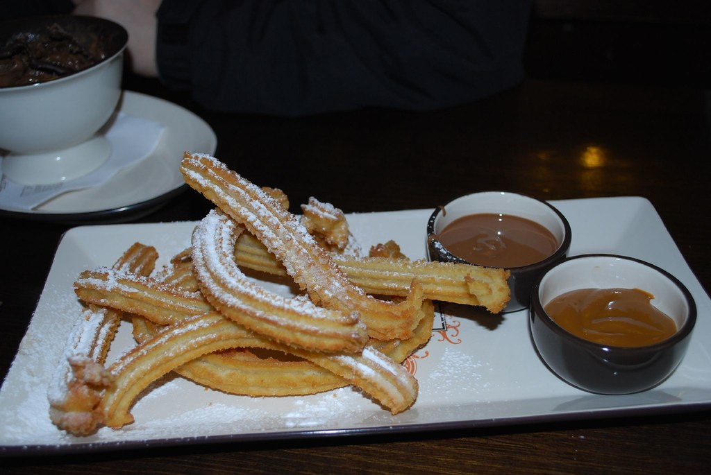 Churros for two with Dark Chocolate and Dulce de Leche dip… | Flickr ...