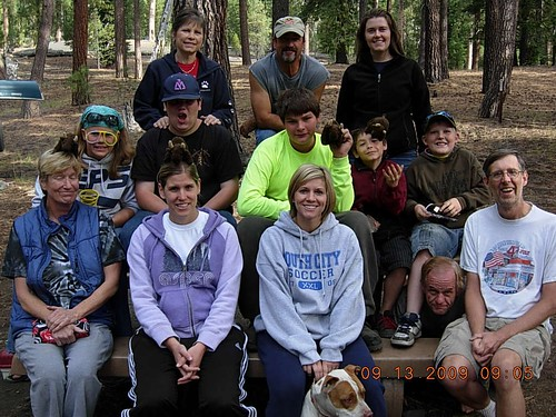 Buddy and camper friends at Lassen Volcanic National Park