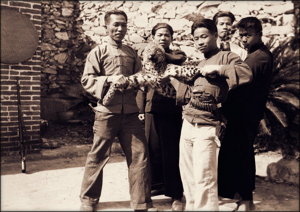 Men With Leopard At The Dongan Mission, China [1932] Fr. Otto Rauschenbach [RESTORED]