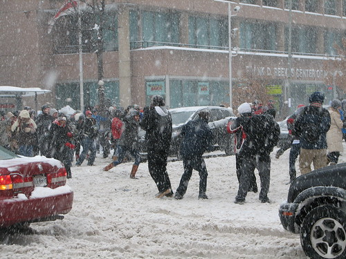 Huge Snow ball fight 14th Street and U Street NW