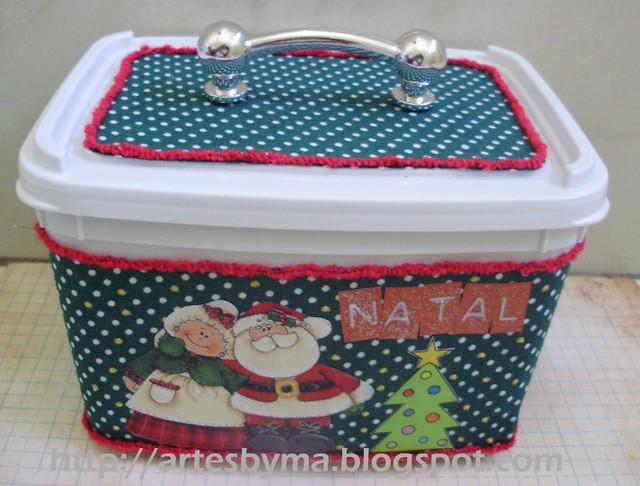 pote de sorvete reciclado com carinha de Natal
