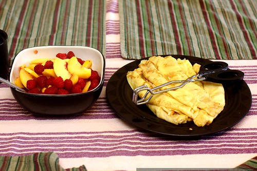 homemade crepes with raspberries and peach slices    MG 1604