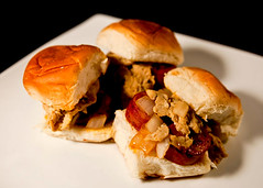 sandwich, meal, breakfast, pulled pork, hamburger, slider, produce, food, dish, cuisine, fast food,