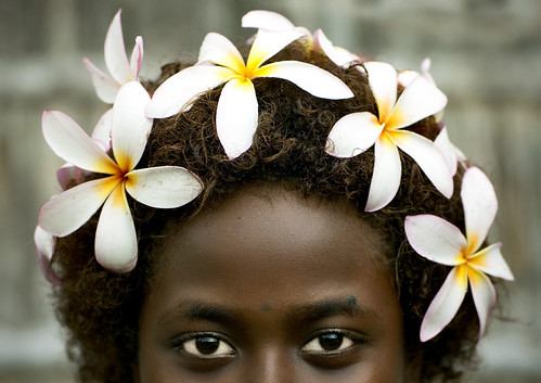 Bougainville girl and frangipan headress - Papua New Guinea