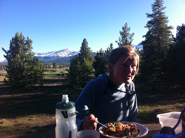 Ahhhh, dinner in the mountains...