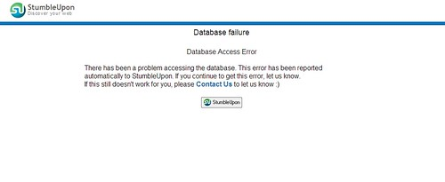 StumbleUpon Database failure