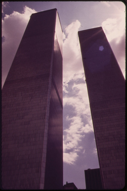 Towers of the World Trade Center in Lower Manhattan Seen From West Street 05/1973