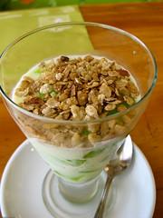 coconut(0.0), breakfast cereal(1.0), meal(1.0), breakfast(1.0), food(1.0), dish(1.0), dessert(1.0), muesli(1.0), cereal(1.0), cuisine(1.0), snack food(1.0),
