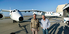 Burt Rutan and Sir Richard Branson with VMS Eve, Mojave, July 08. Credit Herb Lingl