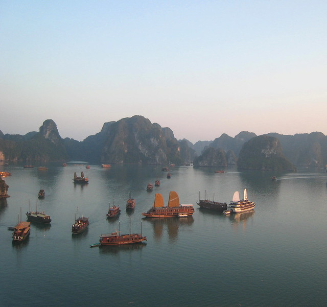 Ha Long Bay in the soft evening light ...