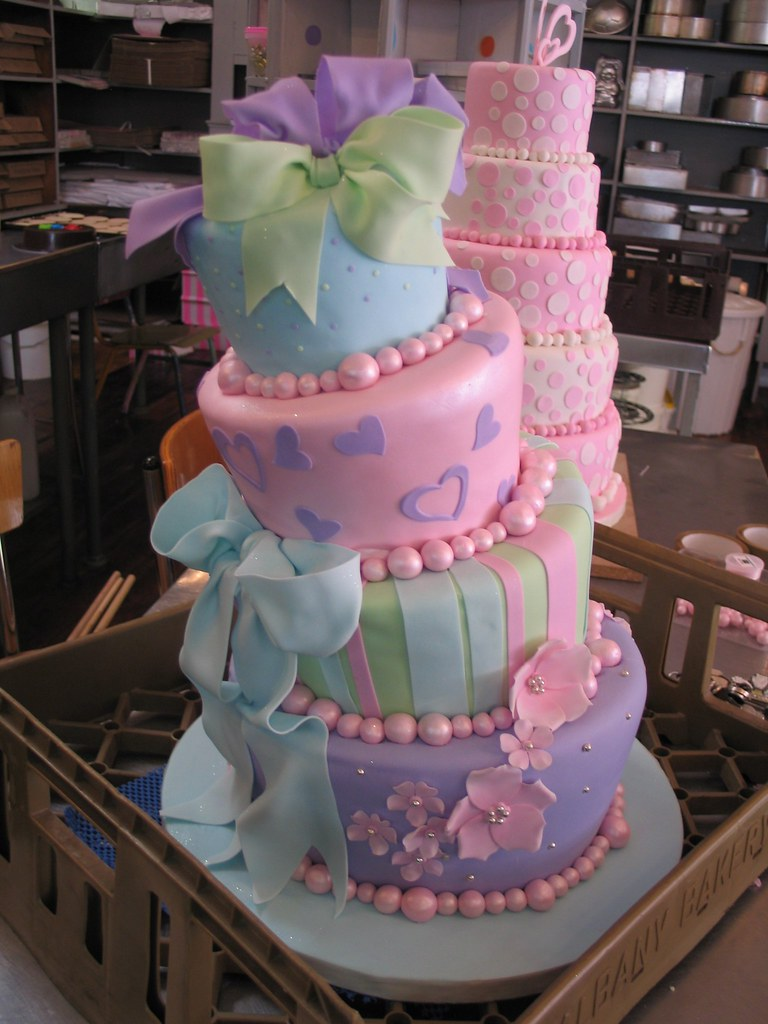 4 tier pastel mad hatter wedding cake - a photo on Flickriver