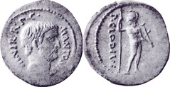 RRC 494/17 Denarius Antony Mars standing