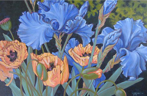 "NEW "" Blue Iris & poppies"""