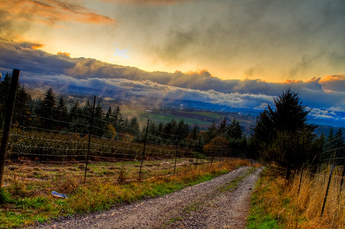 road sunset oregon dundee hdr