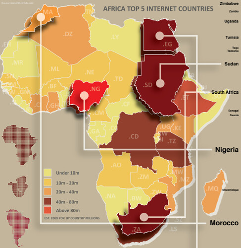 Africa's Top 5 Internet Countries Infographic