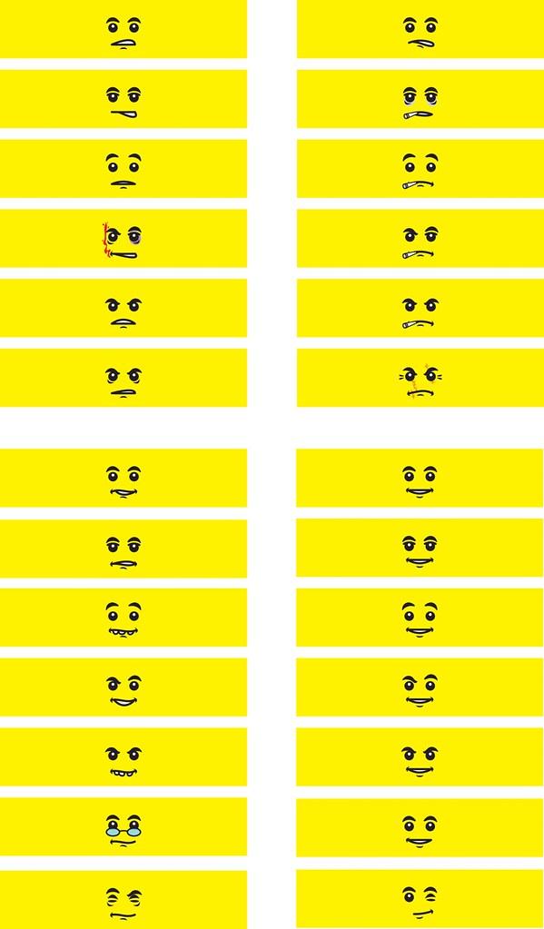 lego minifigure head template - minifigure head decals 130 facial expressions minifig