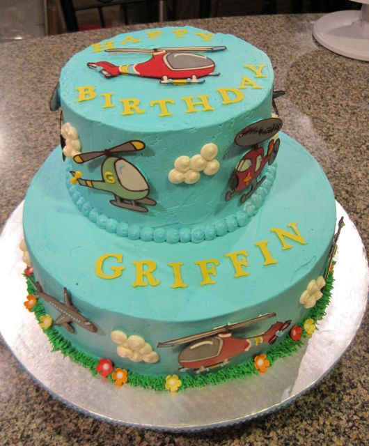 Helicopter & Airplane Cake  Decorations made from chocolate ...