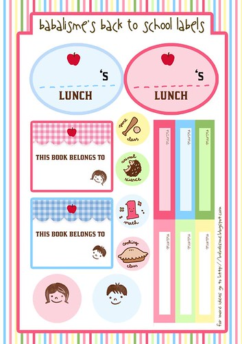 Printable Book Cover Labels : Babalisme back to school labels