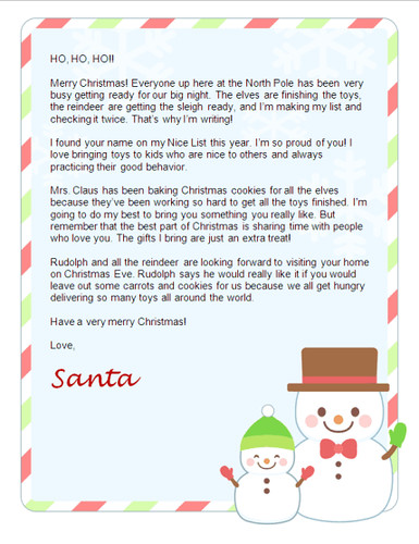 Generic Letter From Santa Free Christmas Letter From Santa Free Santa Lettersnet