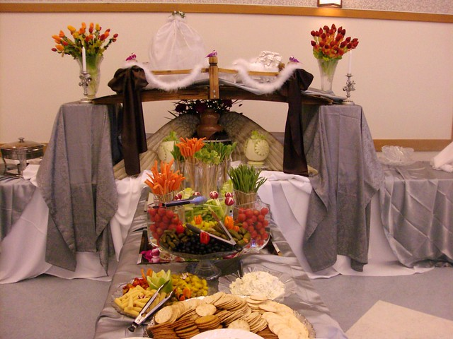This is a beautiful buffet table setting for any wedding with a chocolate