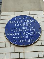 Photo of Marine Society, King's Arms Tavern, London, and Jonas Hanway blue plaque