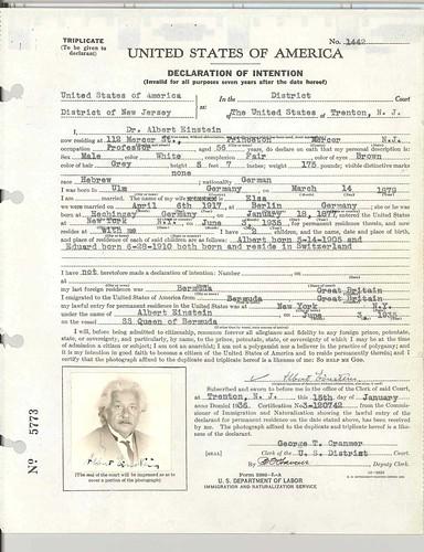 Declaration of Intention for Albert Einstein