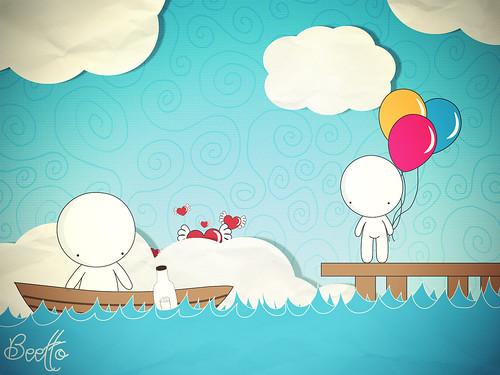 Ilustración: un hombre parte en una barca