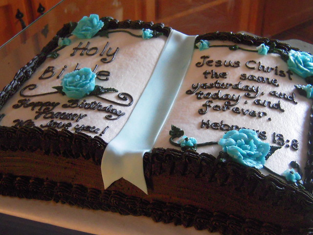 Bible Birthday Cakes http://www.flickr.com/photos/cakes_by_amy/3751886228/