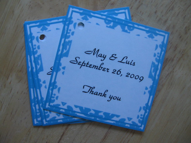 Tiffany Blue Damask Wedding Favor Tags Hang Tags