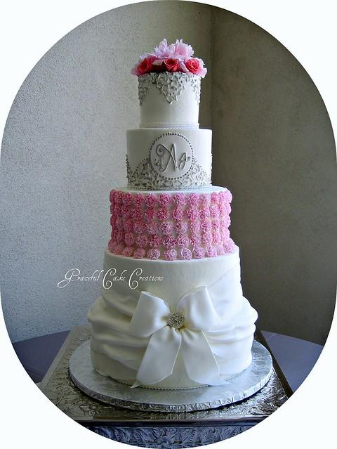 Elegant White Pink And Silver Wedding Cake Flickr Photo Sharing