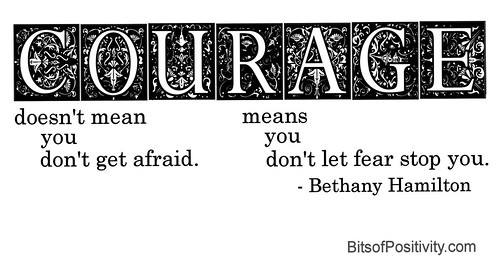 """Courage doesn't mean you don't get afraid. Courage means you don't let fear stop you."" Bethany Hamilton"