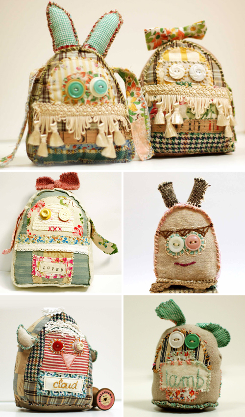 vintage fabric softies by grrl + dog