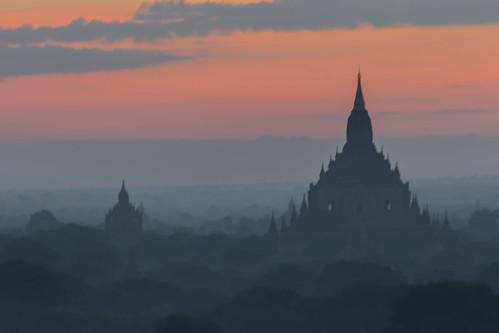 angkor asia bagan ruins temple ballon buddhism dust fog landscape mist misty pagodas skyline stupas sunrise sunset tourism travel visit