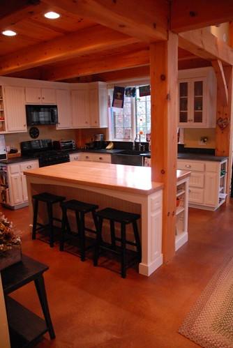 Post beam kitchen flickr photo sharing - Kitchen island with post ...