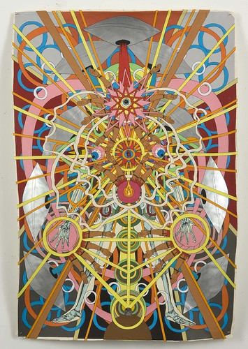 "Opening up a Chakra. Colored paper collage, colored pencil, and pen on paper. 29.5""x40"". 2008"