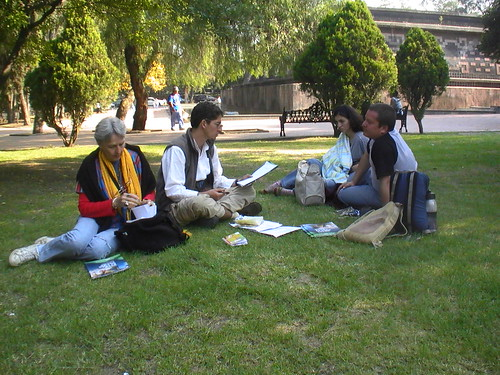 The group sharing ideas in Chapultepec Park