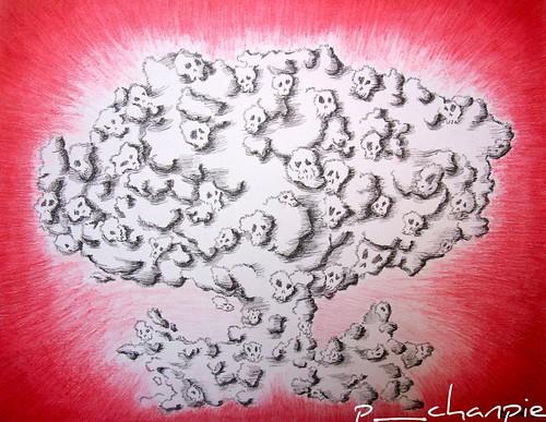 Ilustración: hongo nuclear formado por calaveras